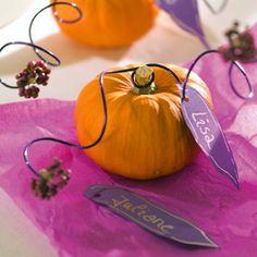 Herbstliche Tischdeko mit Kürbis
