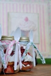 strawberry shortcake in a mason jar for a parting gift