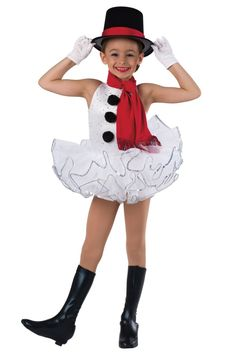 Style# 18472 FROSTY  Sequined glitter misted white velvet and white spandex leotard. Separate white chiffon tutu and red spandex scarf. Pom, fringe and sequin trim. Headpiece and boot covers included. XSC-XLC G11-Short white gloves, optional.