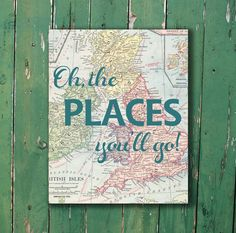 Oh, the places you'll go Dr. Seuss vintage map print for nursery or kid's room baby shower new mom gift teal blue on Etsy, $15.00