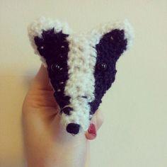 Crochet Badger Head brooch by Fox Bunting