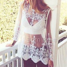 $18.85 Transparent Floral Lace Shirt Top Sexy Women Embroidery Crochet White Blouse Shirt - BornPrettyStore.com