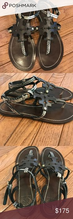 Tory Burch Chandler Brown Snake Sandal Sz 10 w/Box Comes with Box...EXCELLENT LIKE NEW Pre-owned Condition! Size 10. Fast Immediate Priority Shipping! Please visit my closest for additional designer items.Thank you. Tory Burch Shoes Sandals