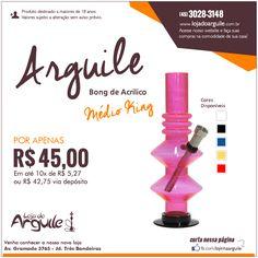 Bong de Acrilico Medio King POR APENAS R$ 45,00 Em até 10x de R$ 5,27 ou R$ 42,75 via depósito  Compre Online: http://www.lojadoarguile.com.br/bong-de-acrilico-medio-king-