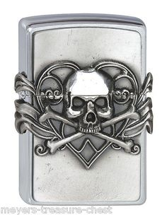 Original ZIPPO skull with heart - Heavy Plated lighter - rare collectible