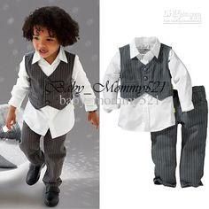 Wholesale 13032015 Boy 2Pcs Set Ring Bearer False 3 Piece Strips Vest Pants Long Sleeve Shirt, Free shipping, $17.74-22.6/Set | DHgate
