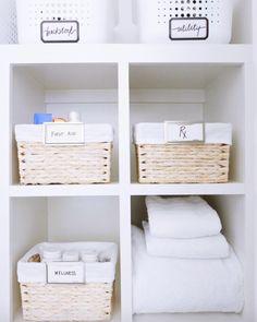 Organized bathroom.