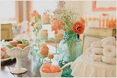 Aqua/Turquoise Blue Mason Jars!!!!  <3 :  wedding Aqua Orange Baby Shower 912 E1303420038851