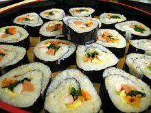 Kimbap - sesame oil rice, spinach, cucumber, carrot, egg