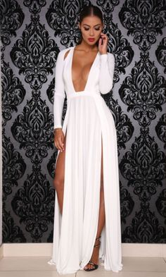 Abyss by Abby 'Envy' Plunge Evening Gown-White