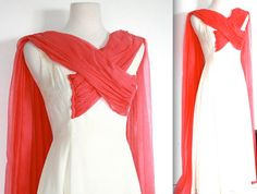 Vintage 1950's Dress // 50s Coral Pink and Cream Gown // Mad Men Glamour Girl