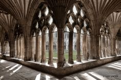 The gothic arches and tracery of the cloister at Canterbury Cathedral. Canterbury Cathedral, Canterbury Kent, The Cloisters, Castle Wall, Beautiful Interior Design, London Calling, England And Scotland, Kent England, Pix Art