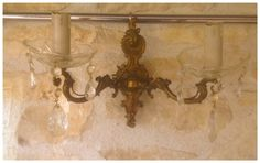 Check out French, Bronze, and Glass Droplet, Double Branch, Vintage Wall Sconce for Electric Lights. on fleursenfrance