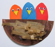 easy kids craft, googly birds in a paper plate nest :)