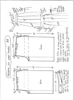 Esquema de modelagem de pantalona com pregas tamanho 38.
