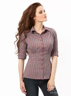 Blouse Sicilia in Red-Grey