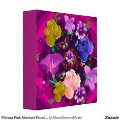 #VibrantPink #AbstractFloral #Binder #PhotoAlbum by #MoonDreamsMusic #SchoolSupplies