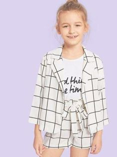Kiddie Girls White Plaid Notched Collar Coat And Belted Shorts Casual – gagokid Kids Outfits Girls, Cute Girl Outfits, Cute Outfits For Kids, Summer Outfits, Casual Outfits, Clothes For Kids Girls, Toddler Girls, Tween Fashion, Girls Fashion Clothes