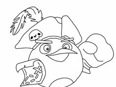 Angry birds epic coloring page - bomb bord