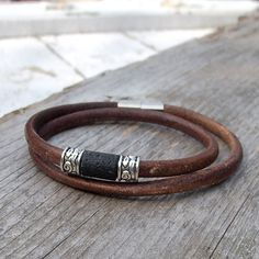 Mens leather bracelet,  Rustic brown natural, Mens boho leather and lava bracelet, Boho, Rustic