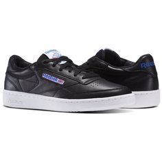 Reebok Club C 85 Men Shoes SO Black Vital Blue Leather Sneakers Sport  BS5213  Reebok b4f85ec14