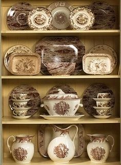 Collecting transferware is always in style.Transferware is about as close as you can get to printing on ceramics. Hutch Display, Dish Display, China Display, Antique China, Vintage China, Friendly Village Dishes, Vintage Dishes, Antique Dishes, China Patterns