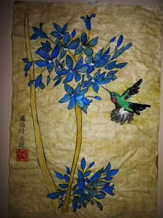Huming Bird And Flowers,done on rice paper with water colors.