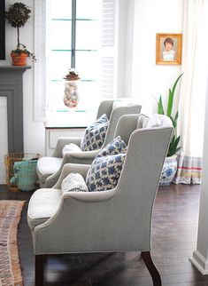 Like the gray chairs - the upholstery looks so soft