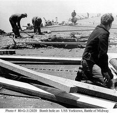 USS Yorktown - Bomb hole - Battle of Midway