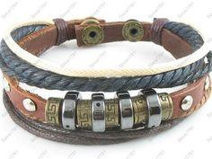 Ethnic Surfer Tribal Hemp Leather Bracelet Wristband Cuff Mens Womens w Snap 09 | eBay