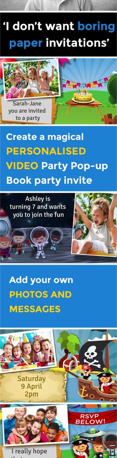 Create your own magical Party Pop up Book VIDEO party invitation - www.poshtiger.co Online Birthday Invitations, Party Invitations Kids, Invitation Paper, Invites, Theme Ideas, Party Themes, Party Ideas, First Birthday Parties, First Birthdays