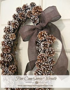 Pine Cone Snowy Wreath! Beautiful and perfect for the winter season! @Bonnie &  Trish { Uncommon Designs }