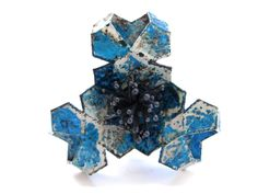 Electroformed Paper Brooch by Jennaca Davies, Materials: copper, paper, paint, patina