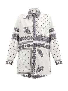 Denim Dye, Bandana Scarf, Oversized Shirt, Paisley Print, Poplin, Printed Cotton, Women Wear, Men Casual, Mens Tops
