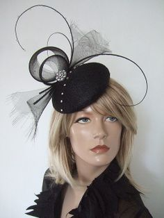 Black Quills and Crystals Button Fascinator by Dress2Impress Winter Wedding  Guests 4a14ab2e888c
