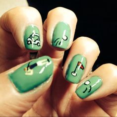 """""""✧ golf nails for my friend's mom~ she edited the pictures so you can't really see the actual colors, but the green is the same as my Free! Cute Toe Nails, Cute Toes, Painted Nail Art, Hand Painted, Nails Today, Friends Mom, Nail Trends, Nail Manicure, How To Do Nails"""