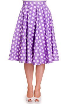 Hell Bunny Mariam swing skirt Lavendel lavender polkadots white vintage look 50s