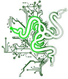 Green Razer Logo. Green Razer Logo in black background