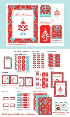 Red & Aqua Holiday Party Printable Designs for Christmas and New Years Eve. Printables by Amy Locurto. Shop.LivingLocurto.com