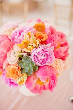Closer to Love Photography, wedding bouquet, pinks and peaches, succulents in arrangements, bright colors