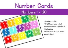 These number cards are numbers 1 through 120. These are sized to fit in a 100's chart pocket chart. There are 10 different colors and create a noticeable pattern in the ones place when placed in the chart.
