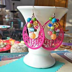 funfetti. upcycled shabby beaded earrings, pink patina, recycled vintage, big dangly earrings, bright colors, festive, repurposed junk by FabFleaMarket on Etsy