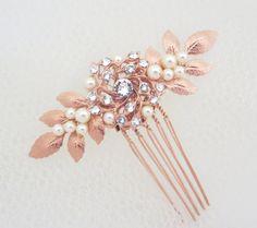 Bridal hair comb Rose Gold hair comb Wedding by treasures570