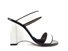 0dab8e63724a3e Sandales à talons Sonia Rykiel - Ry Mule T9,5 en cuir blanc et noir