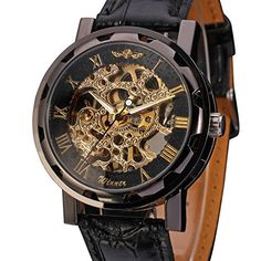 Men's Mechanical Wrist Watch with Elegant Skeleton Dial, Black..Price:$11.00 & FREE Shipping. http://amzn.to/2dL4gSK