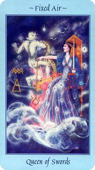 Queen of Swords Tarot Card - Celestial Tarot Deck