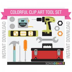 Realistic Multicolored Tools Tool Box Clipart   This Realistic Multicolored Tools Tool Box Clipart is a set of Thirteen. You get thirteen individual files.