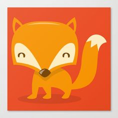 Super Cute Woodland Creatures Fox Stretched Canvas by totallyjamie - $85.00