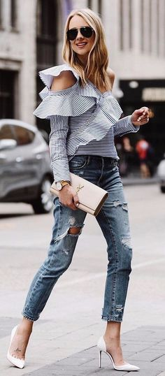 fall stripes / blouse + rips