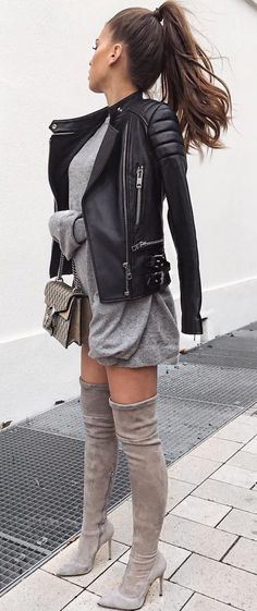 street style babe wearing dress with leather jacket and over-knee suede boots
